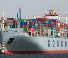 The 10 000-TEU Cosco Pacific which had to be rerouted to Colombo because of a cargo fire.